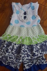 Girls ruffled two piece outfit